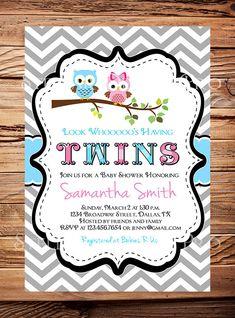 Owl Baby Shower Invitation Twins Baby Shower by StellarDesignsPro