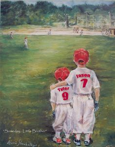 "Baseball Personalized art print custom Names, Numbers, Colors boys children sports ""Someday...Little Brother"". via Etsy."