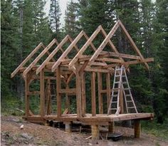 The Timber-Framed Cabin Project (Part 1, April - September 2006) this is more complicated, but beautiful, mortise joints etc. not stick building