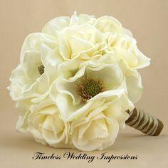 Magnolia & White Rose Bouquet