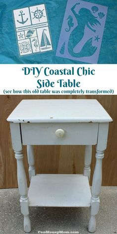You don't need to blow your budget on furniture unless you really want to! This DIY Coastal Chic Side Table was both easy to make and easy on the budget! Diy Home Decor Projects, Easy Diy Projects, Craft Projects, Decor Ideas, Craft Ideas, Coastal Decor, Frugal Living, So Little Time, Modern Interior