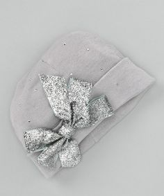 Take a look at this Gray & Silver Bow Beanie by Truffles Ruffles on #zulily today!