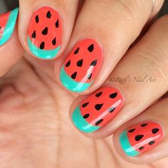 Here's a closer look at my watermelon nails! For details, see previous post. ☺️