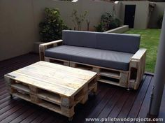 Recycled Pallet Foam Upholstered Sofa and Table
