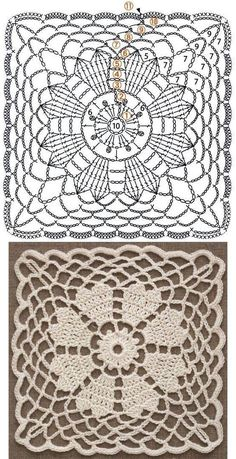 Discover thousands of images about Hobby lavori femminili - ricamo - uncinetto - maglia: motivi piastrelle uncinetto Crochet Motif Patterns, Granny Square Crochet Pattern, Crochet Diagram, Crochet Chart, Crochet Squares, Thread Crochet, Crochet Designs, Knitting Patterns, Doll Patterns