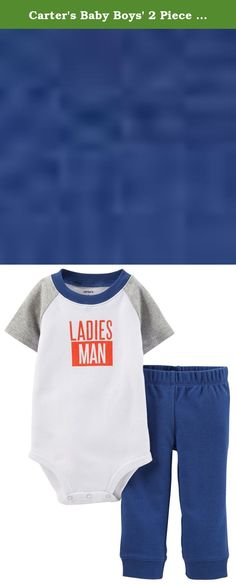 Carter's Baby Boys' 2 Piece Layette Set (Baby) - Ladies Man - 6 Months. Carter's 2 Piece Layette Set (Baby) - Ladies Man Carter's is the leading brand of children's clothing, gifts and accessories in America, selling more than 10 products for every child born in the U.S. Their designs are based on a heritage of quality and innovation that has earned them the trust of generations of families. Features: Set includes a long-sleeve cotton bodysuit and soft cotton pants. Raglan sleeves for a...