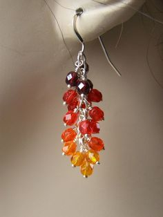 Red and Orange Crystal and Sterling Silver Wire Wrapped Earrings