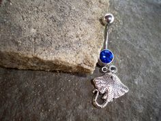 belly button ring  sting ray  dark blue stone  stainless steele  creature of the sea  https://www.etsy.com/shop/sindys