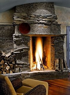Find ideas and inspiration for Fireplace Tile Ideas to add to your own home Cabin Fireplace, Stove Fireplace, Fireplace Design, Fireplace Mantels, Mantles, Rock Fireplaces, Rustic Fireplaces, Brick And Stone, Stone Work