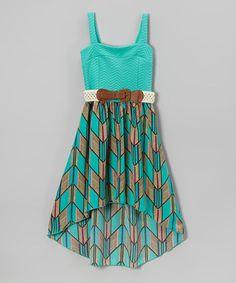 Look at this #zulilyfind! Mint Chevron Belted Hi-Low Dress - Toddler & Girls by Just Kids #zulilyfinds