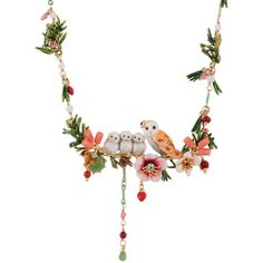 Les Néréides IN THE MOONLIGHT SNOW OWL AND BABIES ON A FLOWERED BRANCH... ($462) ❤ liked on Polyvore featuring jewelry, necklaces, jewelry necklaces, white, short necklaces, leaf necklace, heart-shaped jewelry, white heart necklace and leaf jewelry