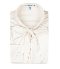 Ladies Plain Cream Fitted Luxury Satin Blouse - Pussy Bow | Hawes and Curtis
