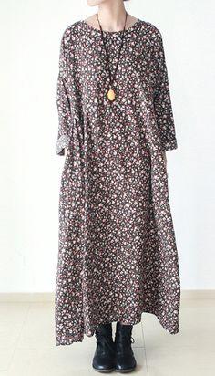 Brown floral cotton dresses long cotton caftans maxi dress fall winter dresses