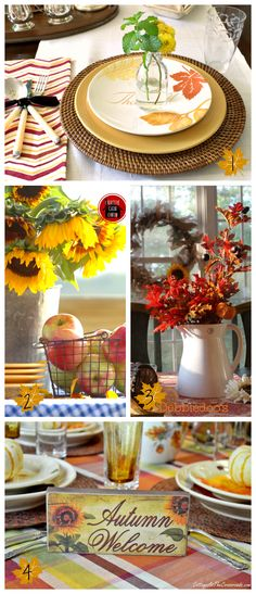 Fall tablescape centerpiece www.tablescapesbydesign.com https://www.facebook.com/pages/Tablescapes-By-Design/129811416695