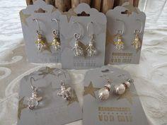 kleine Engel als Ohrringe in Gold und Silber Verpackung Stampin Up mit Stanze gewellter Anhänger und Stempelset Simply Stars