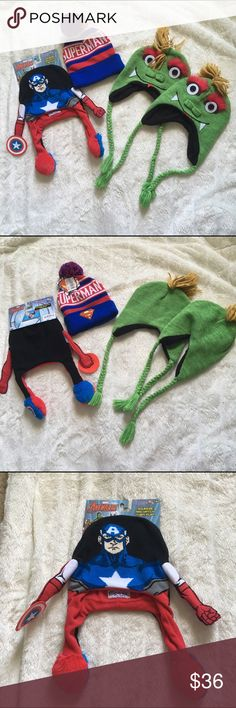Bundle of Kids Winter Hats All NWT  1 Captain America Flipeez Hat 1 Superman Hat  2 Green Monster Hats  Sold as a bundle, will not separate  🎀Reasonable offers considered🎀 Accessories Hats
