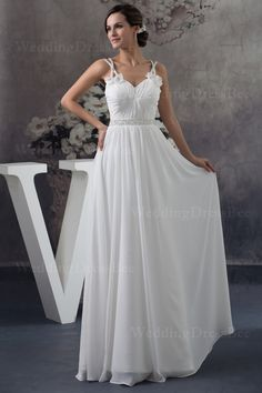 Sweetheart floor length chiffon dress with handmade flowers