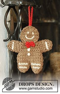 """Gingy - DROPS Christmas: Crochet DROPS gingerbread man in 2 threads """"Safran"""". - Free pattern by DROPS Design"""