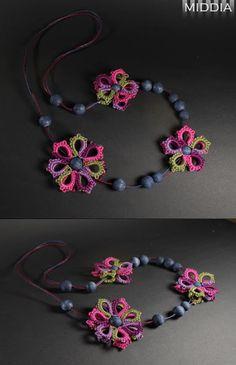 Frywolitka szydełkowa: Naszyjnik jagodowy - Necklace berries
