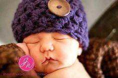 Baby Girl Beanie Purple Button Hat Newborn 3 6 9 12 by BellelaMere, 23.00