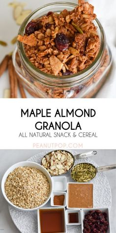Maple Almond Granola is an all-natural snack, topping, and cereal. It is naturally gluten and dairy-free. Healthy Treats, Healthy Eating, Gluten Free Recipes For Dinner, Morning Food, Quick Meals, Granola, Dairy Free, Cereal, Almond