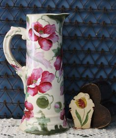 Vienna Austria Tall Pottery Pitcher Pinks and Greens Floral Design Hand Painted China
