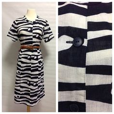 Vintage Navy and White Linen Japanese Vintage Dress