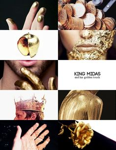 """Aesthetic Meme : [ ⅕ ] myths or mythical creatures — King Midas and his golden touch """"« Dionysus offered Midas his choice of whatever reward he wished for. Types Of Angels, King Midas, Character Prompts, Blush Roses, Greek Gods, Gods And Goddesses, Greek Mythology, Photomontage, Mythical Creatures"""