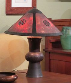 "Lillian Palmer Lamp with Asian Motif in Original Mica 24""h x 20""d"