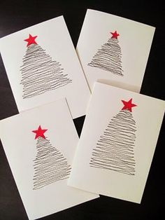 Easy, cute DIY Christmas Cards - another Advent Fundraiser idea Diy Christmas Cards, Noel Christmas, Simple Christmas, Handmade Christmas, Christmas Decorations, Christmas Postcards, Easy Diy Xmas Cards, Christmas Fabric, Navidad Simple