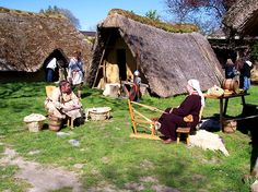 although Roman influence was widespread across Europe - most people still lived in very basic dwellings such as seen in this re-constructed Merovingian village in Marle, France.
