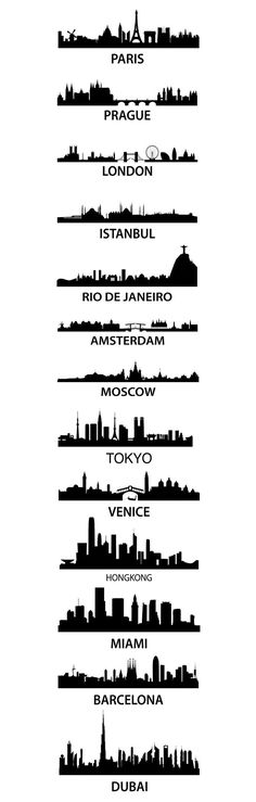 City Skyscape aka silhouette skyline of Paris, Parague, London, Istanbul, Rio De Janeiro, Amsterdam, Moscow, Tokyo, Venice, Hong Kong, Miami, Barcelona, an