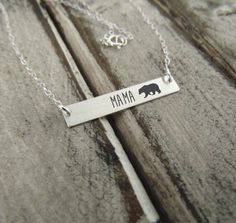 Rose Gold Mama Bear Horizontal Bar Necklace by VintageBrandingCo
