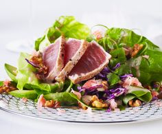 Tuna Wasabi Salad. If you're a fan of that spicy wasabi kick, this salad just may make your day. #WALNUTS #WALNUTOIL