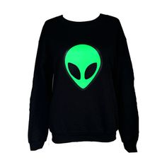 Alien screen printed sweatshirt! Screen printed by us on a warm soft black sweatshirt. Unisex Sizes - S, M, L, (message us if you dont see your