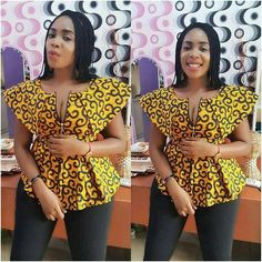 Upgrade your wardrobe staple by adding a colorful print into your closet! Every lady needs one or two or more Ankara tops to spice up her look whenever she steps… African Tops For Women, African Dresses For Women, African Attire, African Wear, African Print Dresses, African Prints, African Fashion Designers, Latest African Fashion Dresses, African Print Fashion