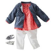 Layered over crisp white twill and a pretty coral print, this polka dot bomber is perfect for the first days of spring!