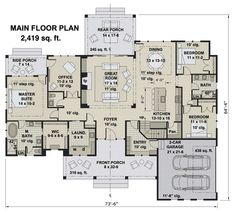 Modern Farmhouse Plans, Farmhouse Design, Farmhouse Style, Best House Plans, House Floor Plans, Floor Plan Drawing, Side Porch, Residential Architect, How To Plan