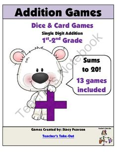 13 Addition Games -Single Digits/Sums to 20 from Teachers Take Out on TeachersNotebook.com -  (41 pages)  - Everything you need to help students practice their addition facts. $