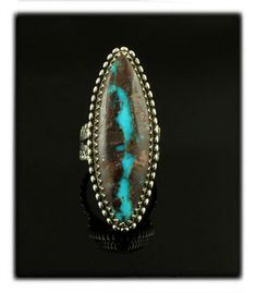 Elongated Marquee Ring with Bisbee Boulder Turquoise - Durango Silver Company