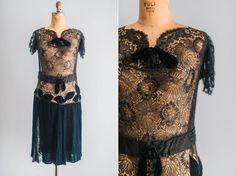 1920's Lace & Velvet Flapper Dress With Jacket