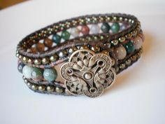 Cuff Bracelet Beaded Leather Fancy Jasper Czech Glass