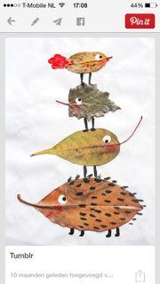 Heerlijk herfstweer!  Tijd om de herfstbladeren te verven. Gebruik geen waterverf want dat hecht zich niet aan het blad.  Wanneer je de blad...
