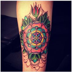 fuckyeahtattoos: Colorful, fancy mandala done by Devin at Laguna Tattoo in Laguna Beach, CA