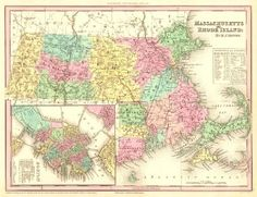 Antique map of Massachusetts and Rhode Island by H.S. Tanner.
