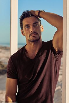 David Gandy For Autograph - M&S Beachwear Collection (Summer Cotton Rich Tailored Fit T-Shirt with Linen Wine by davidgandyfr David Gandy, Models Men, Old Models, Male Models With Beards, Photography Poses For Men, British Men, Male Poses, Gorgeous Men, Supermodels