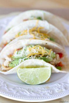 {Crockpot} Salsa Verde Honey Lime Chicken Tacos   A Latte Food