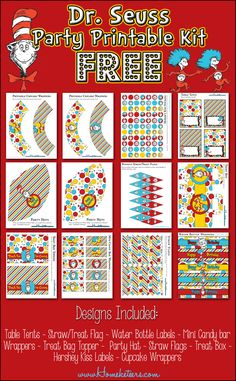 Free Dr Seuss Cat & the Hat with THing 1 and Thing 2 Party Printable Kit