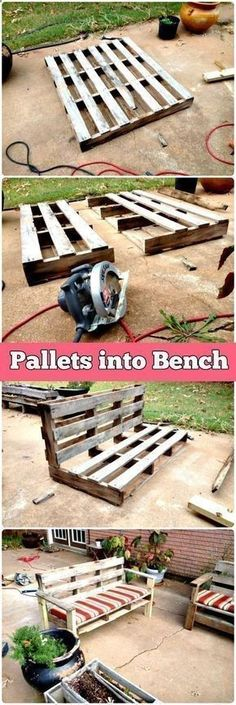 Shed DIY - 5 Easy Step DIY Transformation – Pallet into Outdoor Patio Bench - 150 Best DIY Pallet Projects and Pallet Furniture Crafts - Page 30 of 75 - DIY Crafts Now You Can Build ANY Shed In A Weekend Even If You've Zero Woodworking Experience!
