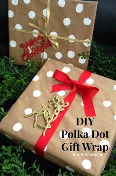 DIY Polka Dot Gift Wrap by R & R Workshop #diy #giftwrap
